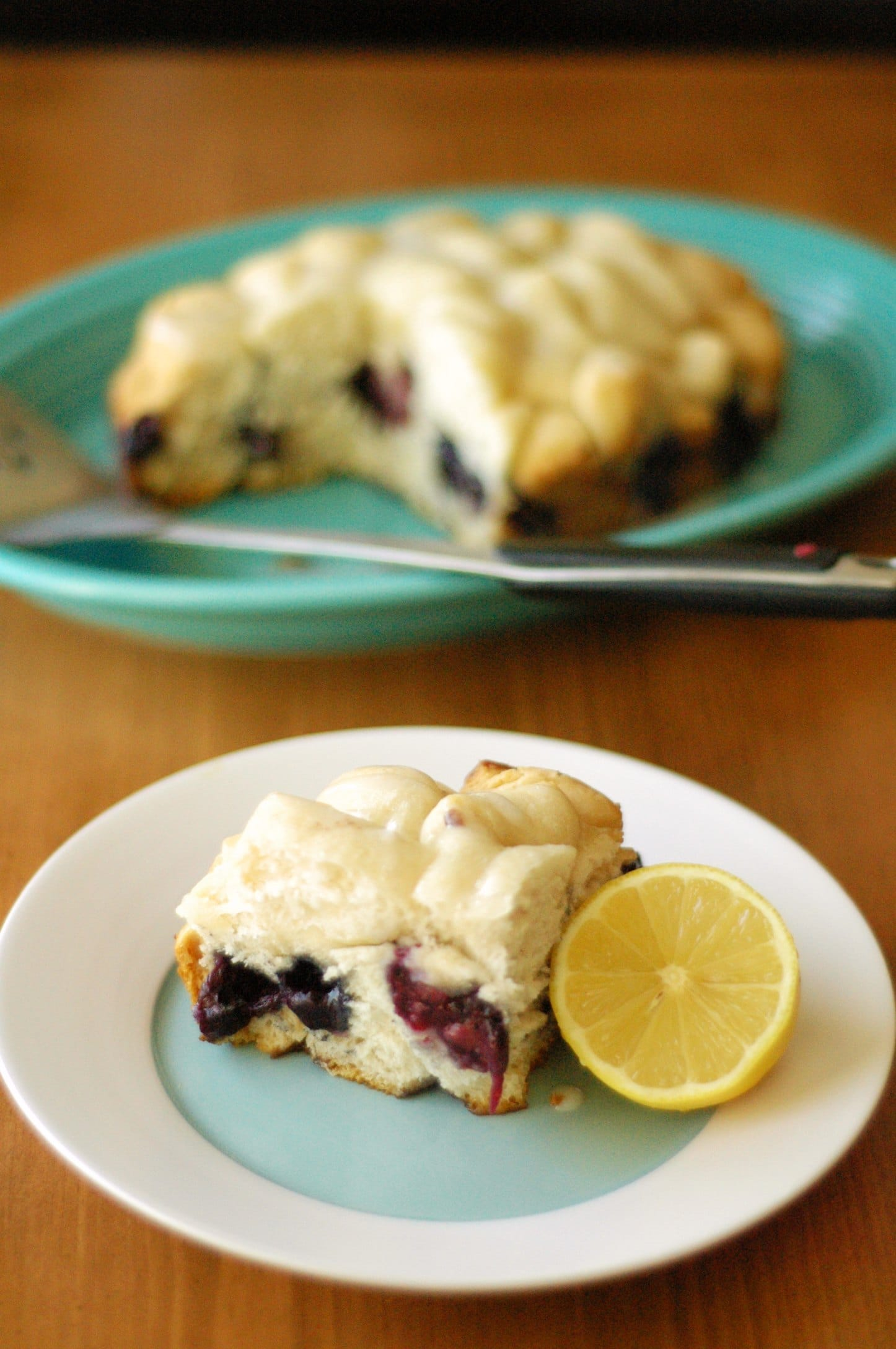 Slow Cooker Blueberry Breakfast Cake with Lemon Drizzle Icing