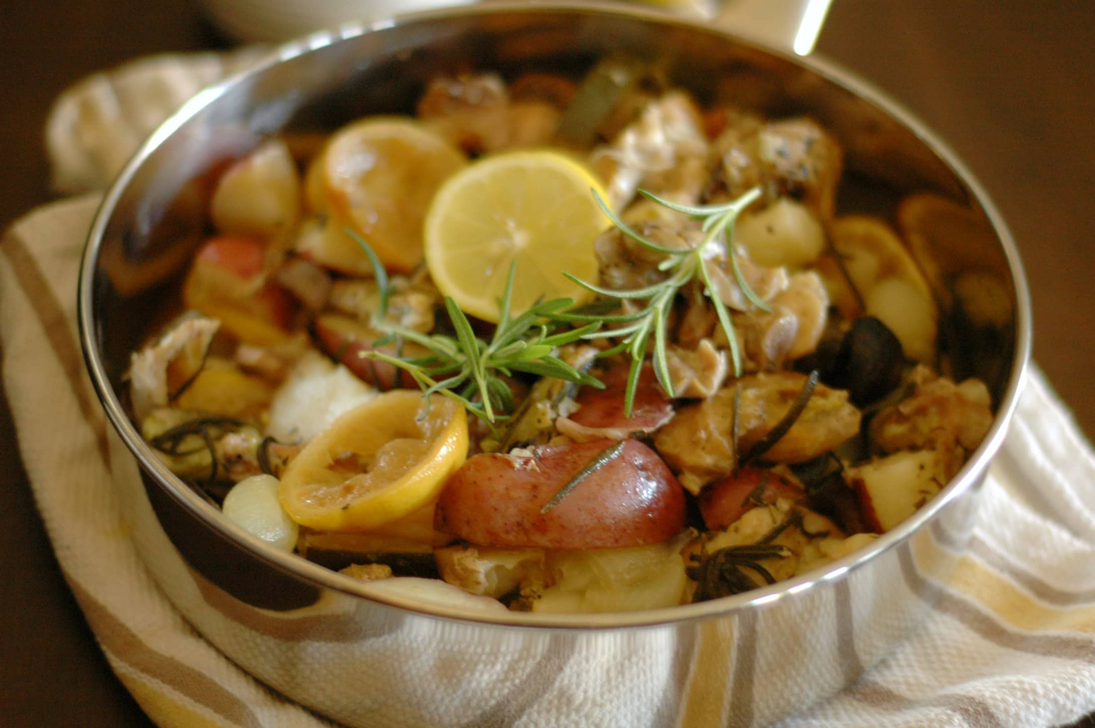 Slow Cooker Lemon Rosemary Chicken with Vegetables