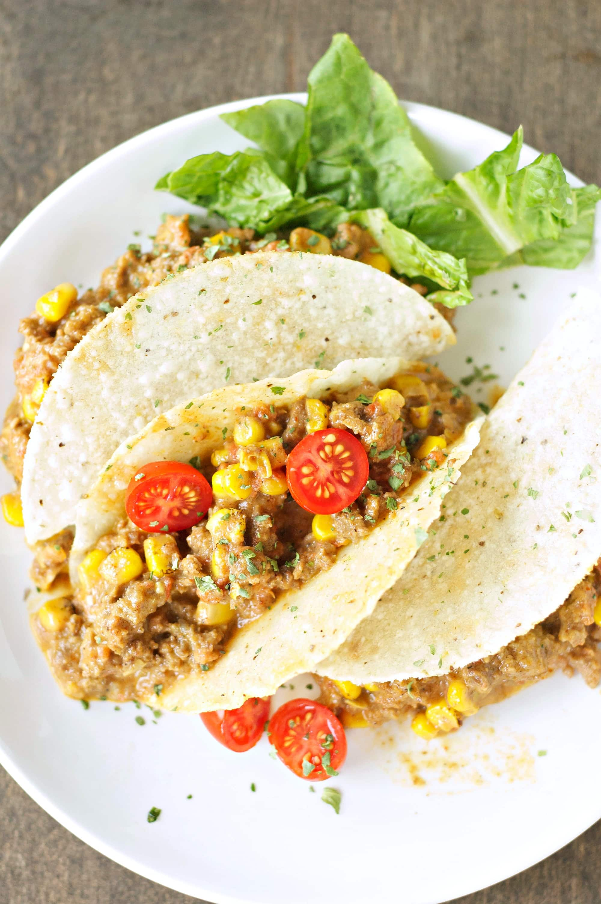 tacos on white plate