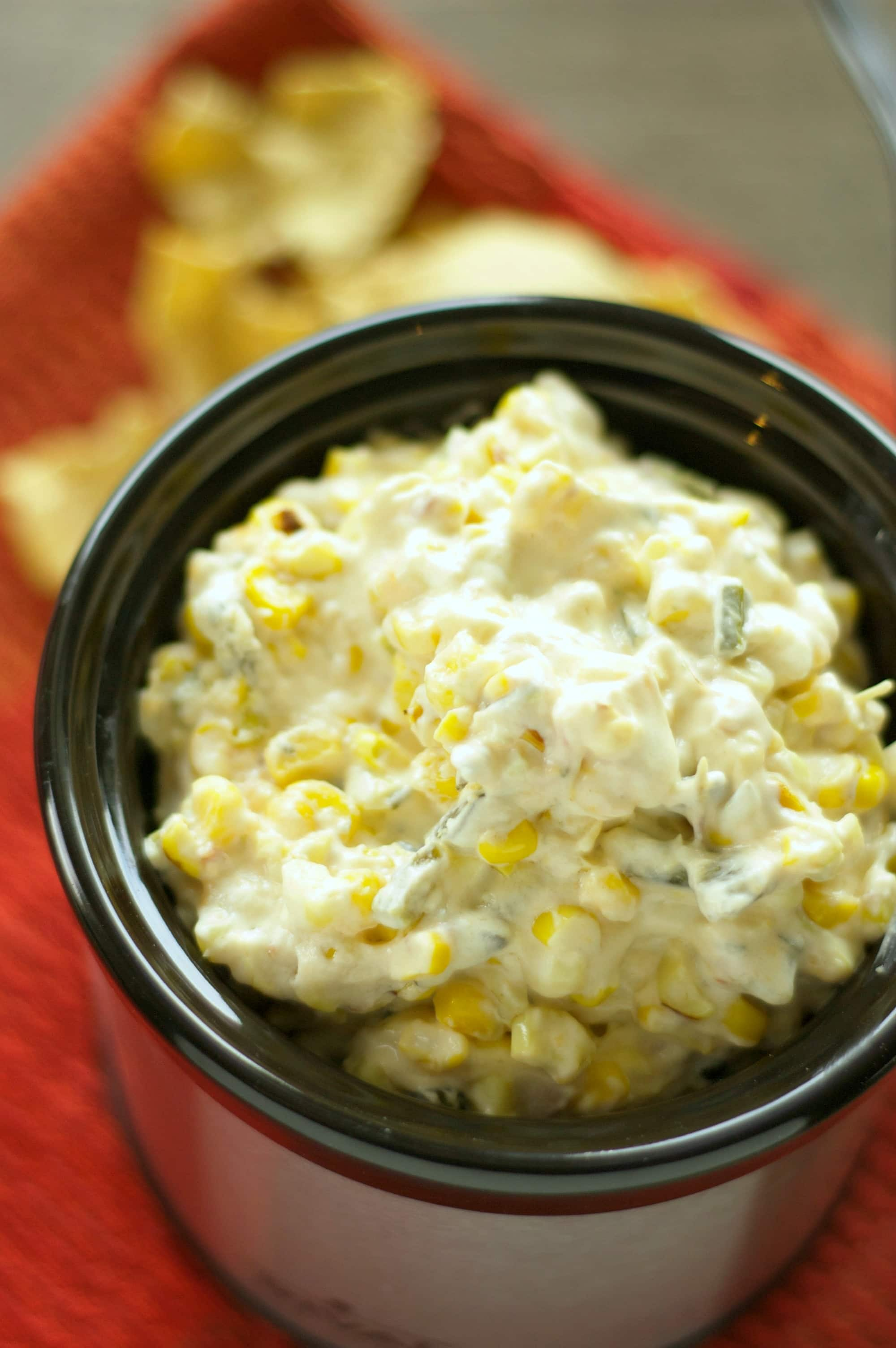 Slow Cooker Roasted Corn and Poblano Dip with Bacon