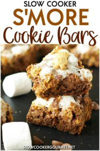 If you're nowhere near a campfire, have no fear! These Slow Cooker S'more Cooke Bars are the perfect summertime treat that will have you singing campfire songs in no time! #slowcookergourmet #slowcooker #smore #cookiebars #chocolate #marshmallow #teddygrahams