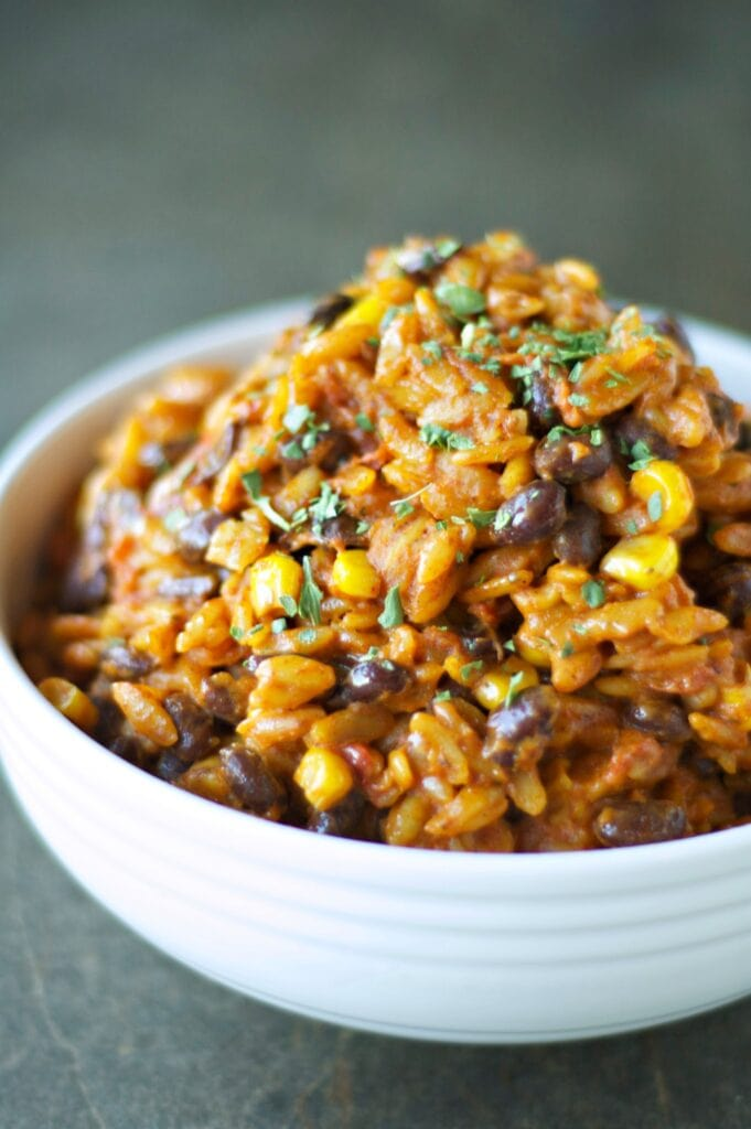 Close up of Slow Cooker Enchilada Pasta in white bowl