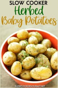 These perfectly roasted potatoes are a simple side dish for your slow cooker that will compliment so many meals! #slowcookergourmet #slowcooker #herbed #babypotatoes #dill #oliveoil #salt #pepper