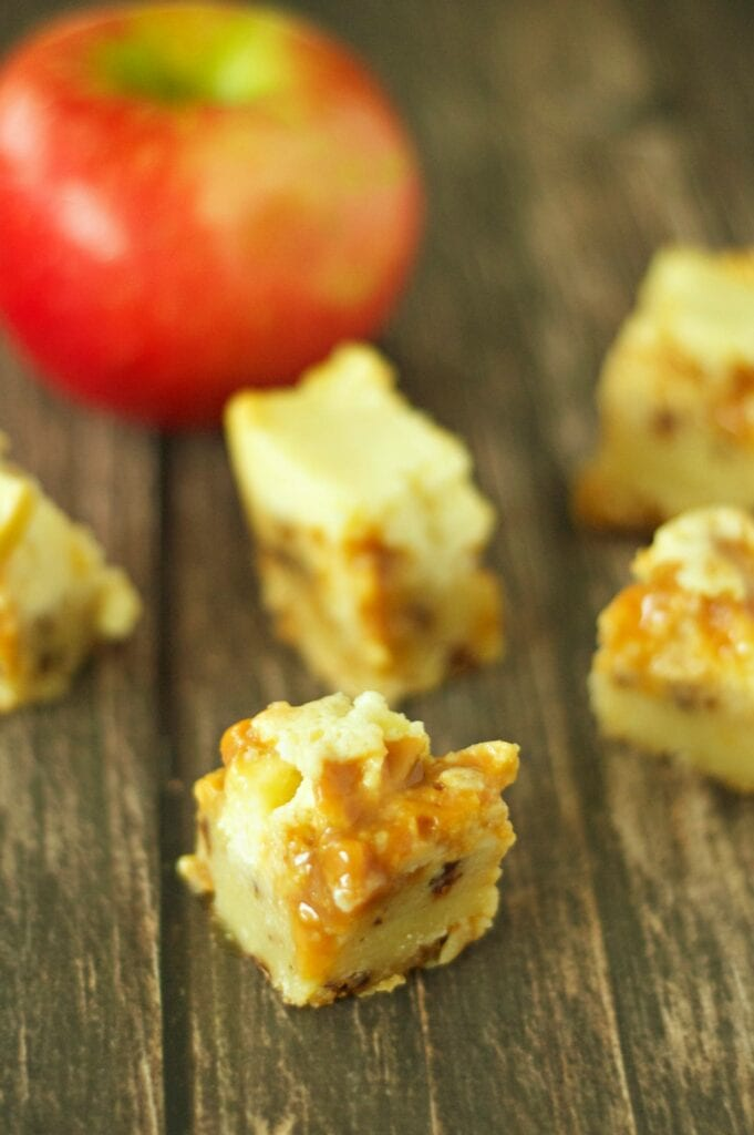 Slow Cooker Caramel Apple Cheesecake Bites with apple