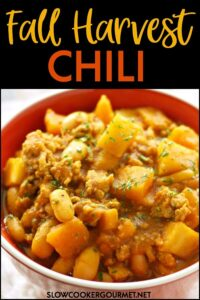 This Fall Harvest Chili is everything warm and cozy you love about the Autumnal season.  With the flavors and pumpkin and squash and warm spices, a bowl of this chili is a perfect way to welcome the season.  #slowcookergourmet #fall #harvest #fallharvest #chili #fallfoods #pumpkin #butternutsquash #parsnips