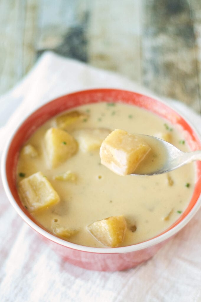 soup with potatoes in red bowl with spoon
