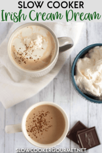 This Slow Cooker Irish Cream Dream recipe is the perfect warm-up drink made with strong brewed black coffee, Cream, Irish Cream liquor and cocoa powder.  When Irish eyes are smiling it's because they are enjoying a mug of this! #slowcooker #irishcream