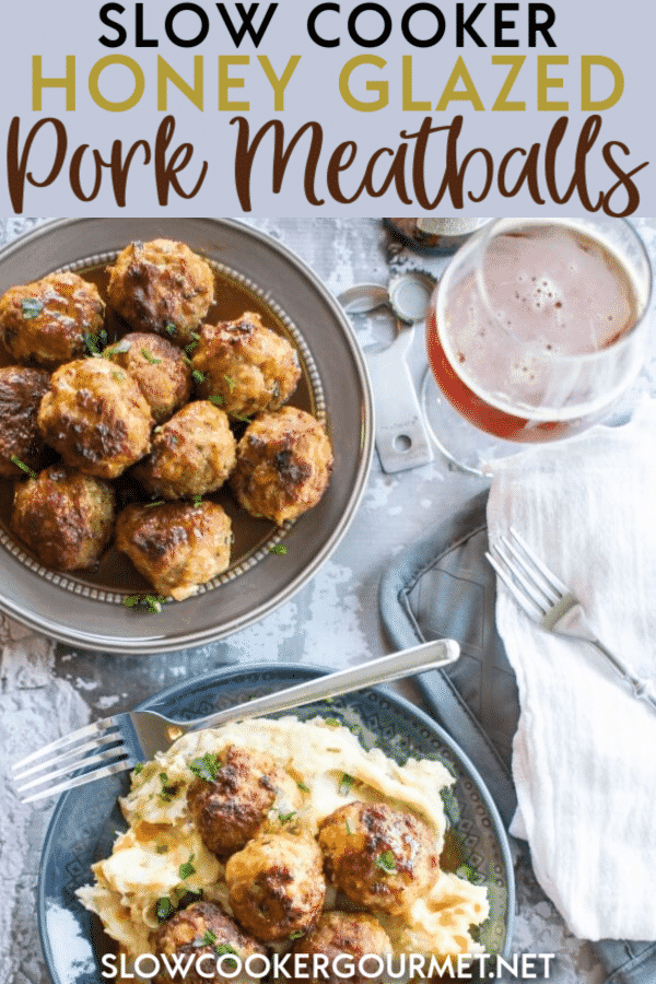 This easy and delicious recipe for Slow Cooker Honey Glazed Pork Meatballs is so simple to make and tastes wonderful on top of mashed potatoes as an entree or with a toothpick as an appetizer. #slowcooker #porkmeatballs #meatballs