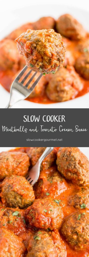 Slow Cooker Meatballs and Tomato Cream Sauce