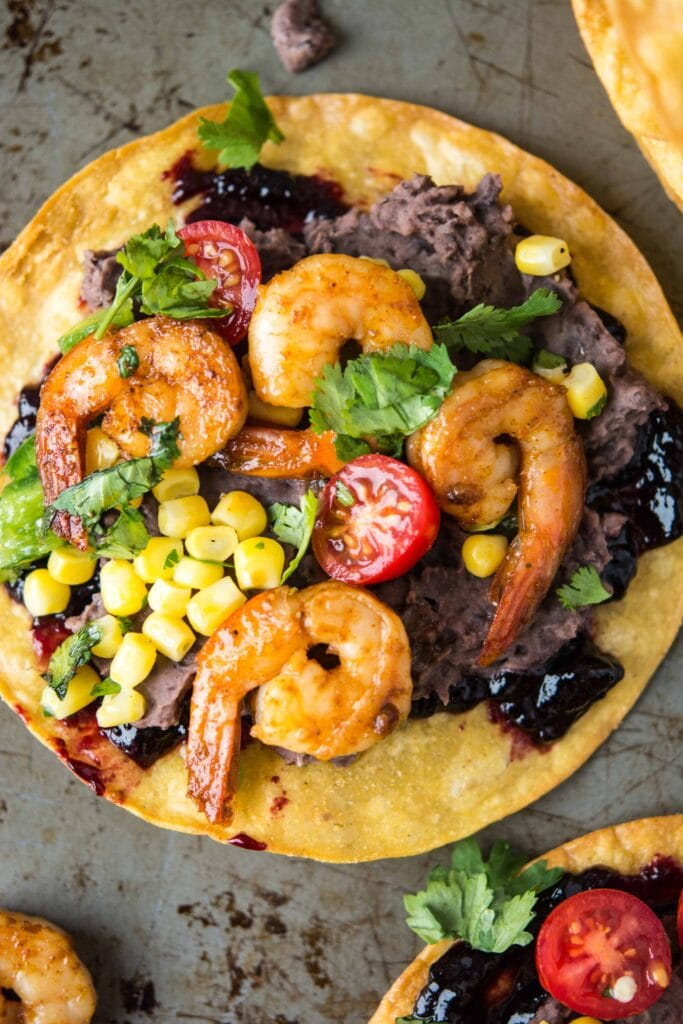 Black Bean and Shrimp Tostadas