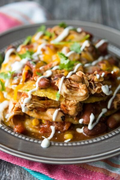 Slow Cooker Mexican Chicken Chili Tostada Stacks