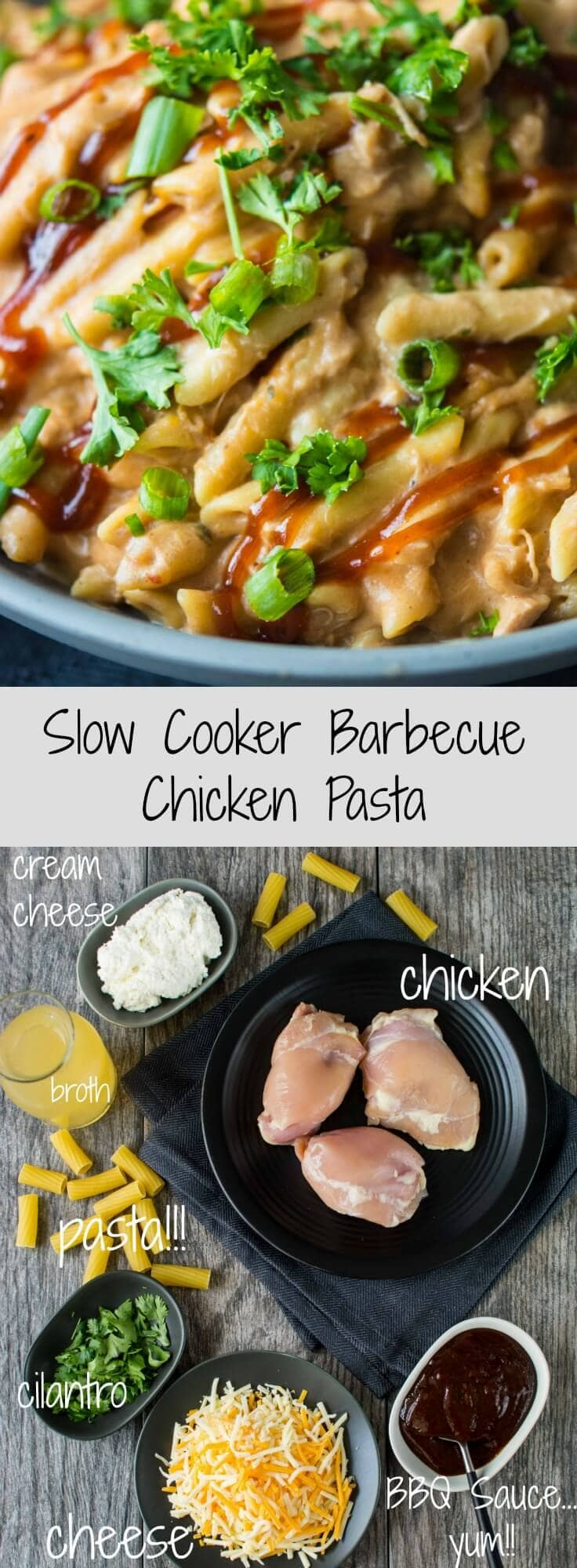 Slow Cooker Barbecue Chicken Pasta