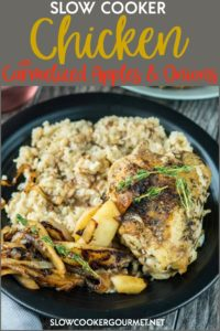 For the perfect meal that tastes like fall, look no further than this Slow Cooker Chicken with Carmelized Apples and Onions!  It's the perfect meal to send you back-to-school and into cooler temperatures! #slowcookergourmet #slowcooker #chicken #carmelized #apples #onions