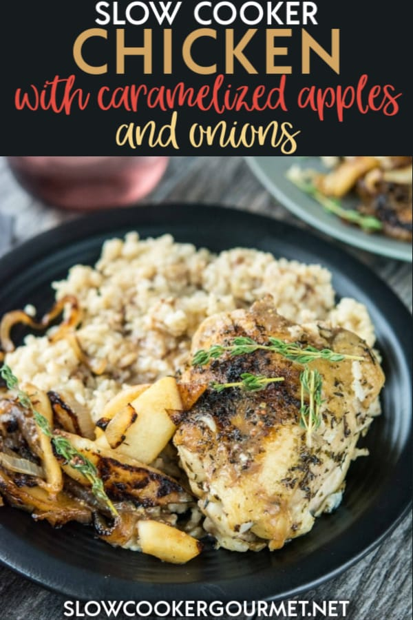 For the perfect meal that tastes like fall, look no further than this Slow Cooker Chicken with Caramelized Apples and Onions!  It's the perfect meal to send you back-to-school and into cooler temperatures! #slowcooker #chicken #apples #onions
