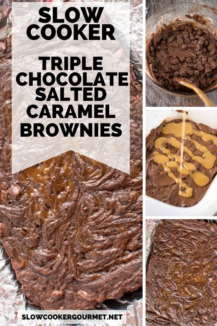 Slow Cooker Triple Chocolate Salted Caramel Brownies are and easy and delicious treat that is perfect for holiday baking! These homemade gooey and sweet brownies are so tasty and will be a hit with family and friends! #slowcooker #triplechocolate #saltedcaramel #brownies #holidaybaking