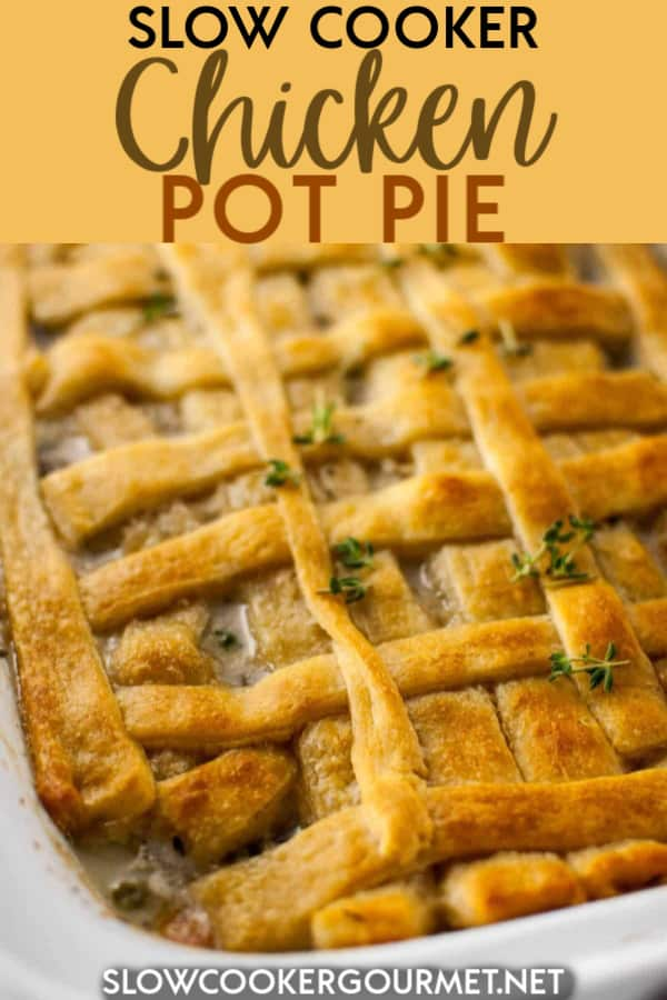This easy and delicious Slow Cooker Chicken Pot Pie is the best!  It's so hearty and creamy with its filling of chicken, veggies, chicken broth, heavy cream and more.  Topped off with a tasty and flaky crescent roll sheet, this pot pie is the most comfy of comfort foods. #slowcooker #chickenpotpie #potpie