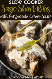 Perfect for date night or a special family dinner! It's really easy to make this impressive meal and the flavors are unbelievable! #slowcooker #shortribs #gorgonzola