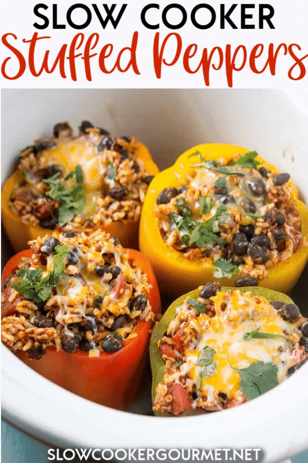 Slow Cooker Stuffed Peppers are a colorful and delicious way to eat healthy this summer and year round! Get your kids to eat their veggies with this fun and simple recipe that is like nature's meal bowl! #vegetarian #stuffedpeppers #healthyrecipe #slowcooker