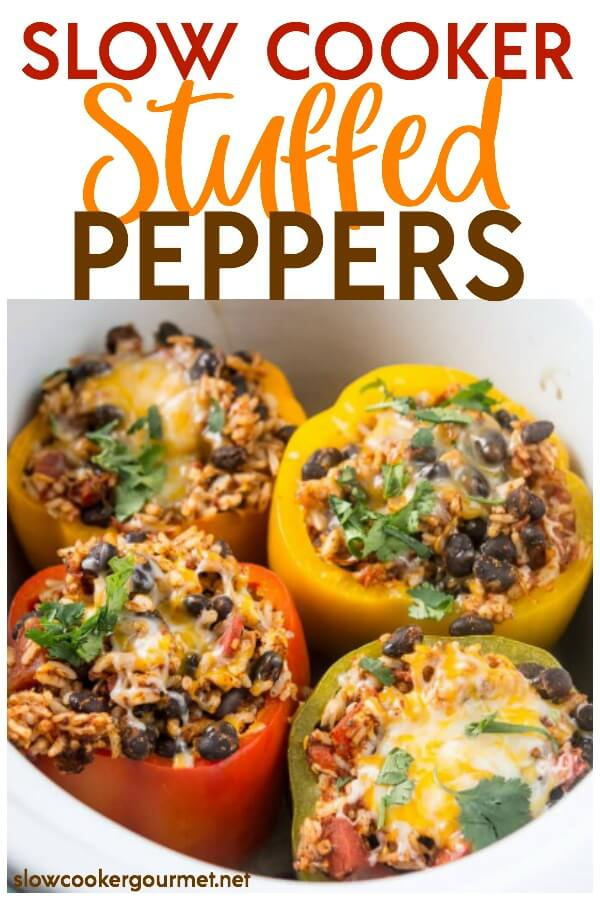 Slow Cooker Stuffed Peppers are a colorful and delicious way to eat healthy this summer and year round! Get your kids to eat their veggies with this fun and simple recipe that is like nature's meal bowl! #vegetarian #stuffedpeppers #blackbeans #healthyrecipe #slowcooker #crockpot #slowcookergourmet