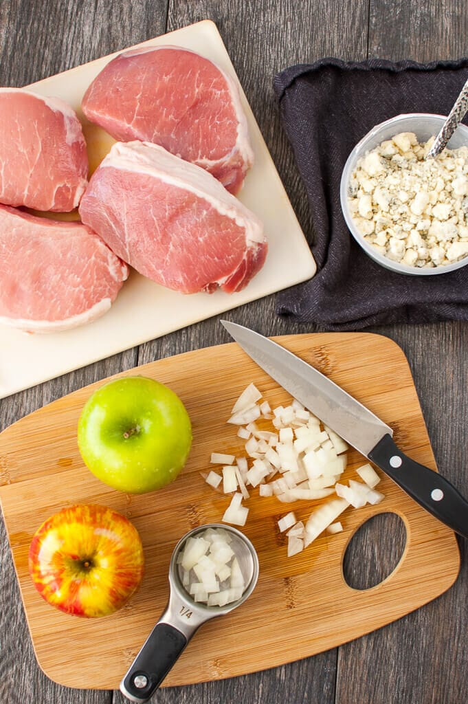 The ingredients for Slow Cooker Stuffed Pork Chops, overhead view.