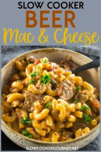 Slow Cooker Mac and Cheese is amazing on it's own, but when you add your favorite beer you end up with a grown-up comfort food you'll want to make again and again. #slowcooker #beer #macandcheese