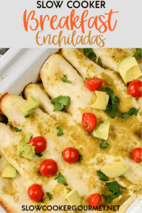 Creative breakfasts are the best, especially when they are so simple to make. Slow Cooker Breakfast Enchiladas will leave you and your guests impressed. #slowcooker #breakfastenchiladas