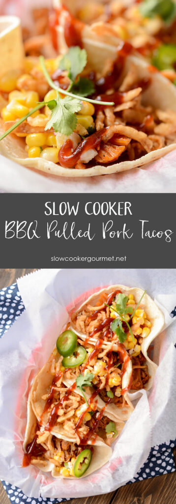 Slow Cooker BBQ Pulled Pork Tacos pin