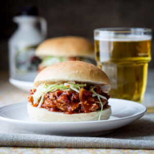 Slow Cooker Maple Chipotle Pulled Chicken Sandwiches