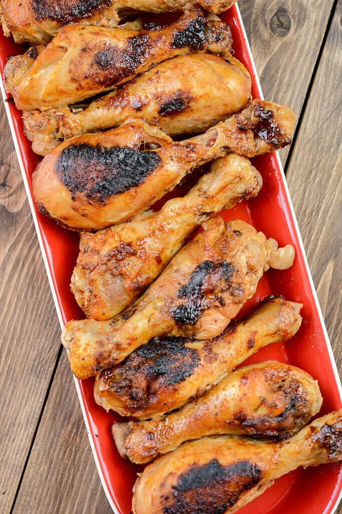Chicken drumsticks on a platter - Slow Cooker Southwest Chicken Drumsticks