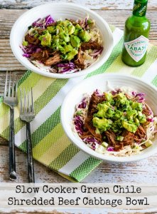 Slow Cooker Green Chile Shredded Beef Cabbage Bowl
