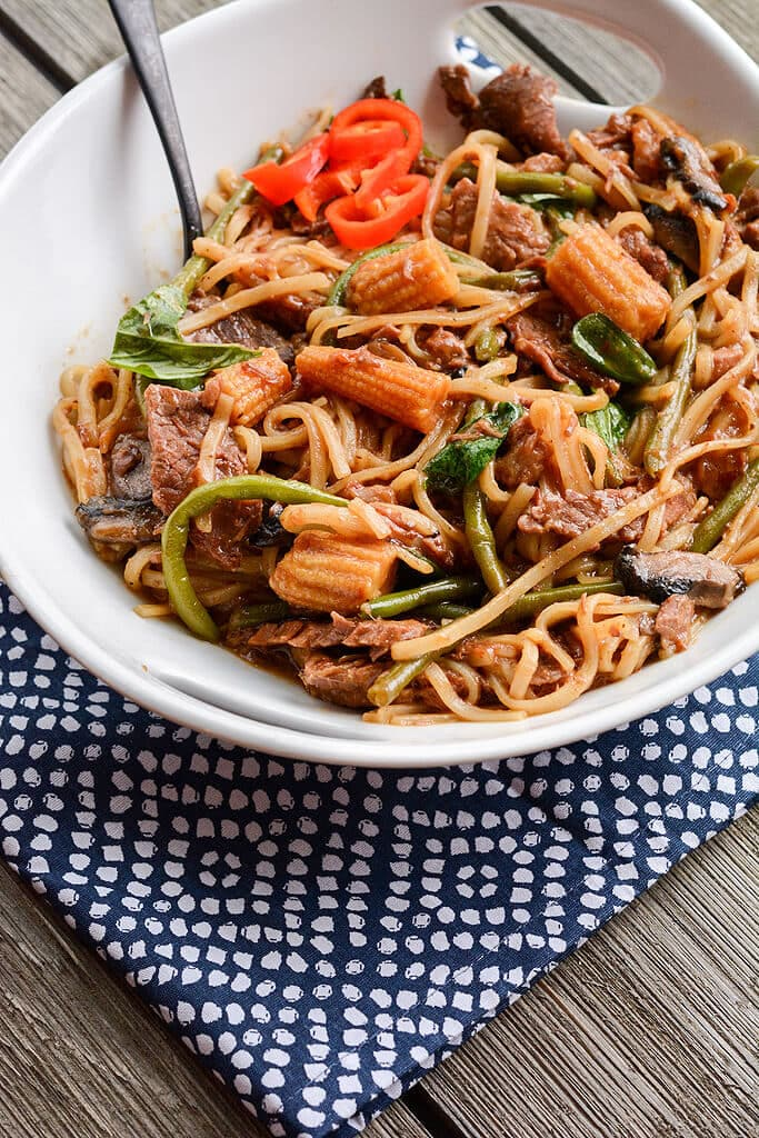 Slow Cooker Drunken Beef Noodles