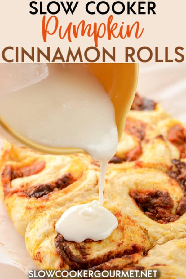 It's easier than you think to make homemade cinnamon rolls. These Slow Cooker Pumpkin Cinnamon Rolls are delicious fresh right out of the slow cooker!  #slowcooker #pumpkin #cinnamonrolls #fallfoods
