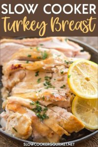 This recipe uses only 4 ingredients and is simple, juicy and delicious. Perfect for a holiday celebration or a weeknight meal!  #slowcooker #crockpot #turkey #turkeybreast #holidayrecipes #thanksgivingrecipes