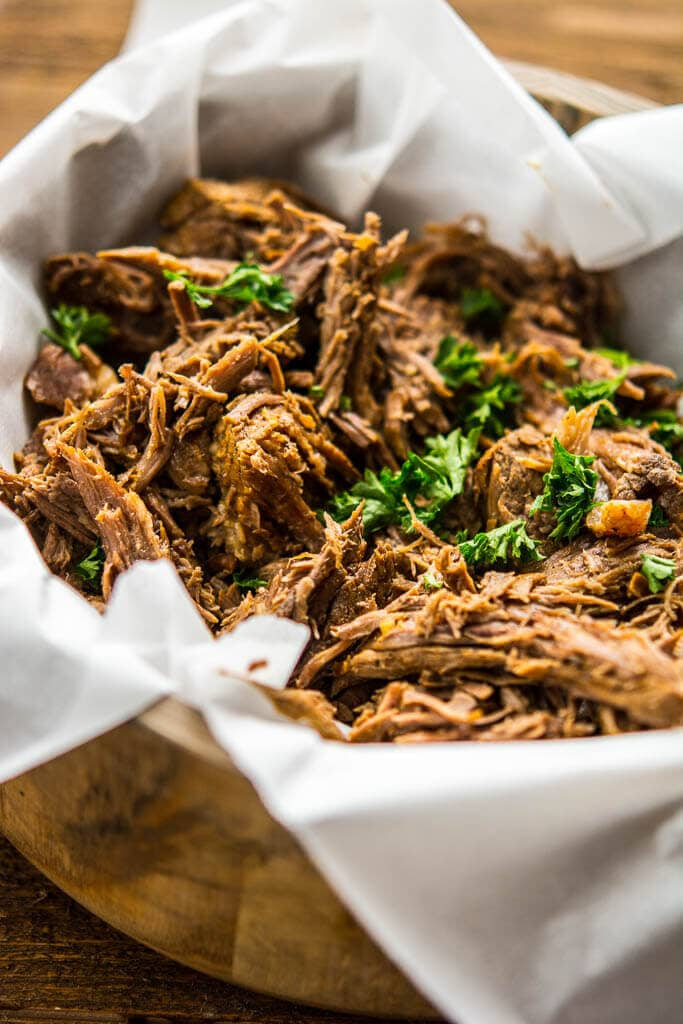 The most tender roast beef and tasty au jus makes the best French Dip Sandwiches. These can be made in the slow cooker or the Instant Pot for a quick and easy meal!