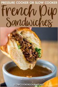 Pressure cooker recipes are becoming very popular for a reason!! In this pressure cooker recipe, the most tender roast beef and tasty au jus makes the best French Dip Sandwiches. These can be made in the slow cooker or the Instant Pot for a quick and easy meal! #slowcookergourmet #pressurecooker #instantpot #slowcooker #frenchdip #sandwiches