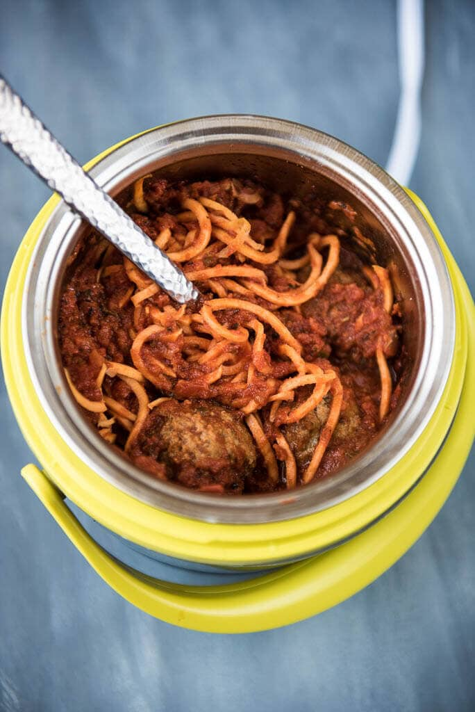 Lunch Crock Sweet Potato Noodles and Meatballs