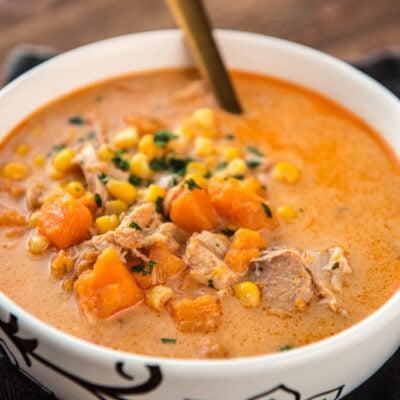 Slow Cooker Spicy Chicken and Sweet Potato Chowder