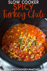 A simple slow cooker chili with just the right spice! Jalapeños and chipotle chili powder let you control the heat! Perfect cold day dinner! #slowcooker #turkeychili