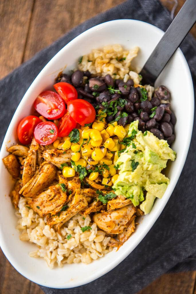 Make this Meal Prep Whole Chicken and be a Meal Prep Rock Star! Create Easy and Delicious Chicken Burrito Bowls!