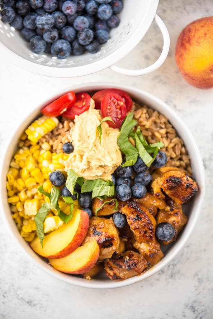 Slow Cooker Peach Balsamic Chicken Bowls