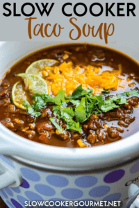Slow Cooker Taco Soup is a family favorite dinner that has just a few ingredients and can be made in minutes. My secret ingredients makes it the best taco soup out there for flavor and richness! #slowcookergourmet #slowcooker #taco #soup