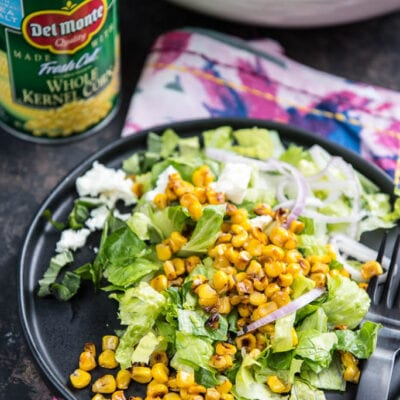 For a simple side dish nothing beats this Roasted Corn Chopped Salad with Lemon Vinaigrette! Less than 10 ingredients and done it minutes!