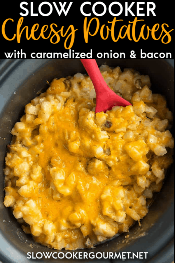 Slow Cooker Cheesy Potatoes with Caramelized Onion and Bacon are quick, easy andabsolutely delicious. These are perfect for holiday dinners and anytime you need to serve a crowd! #slowcooker #cheesypotatoes