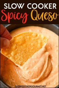 Made from scratch spicy queso is super simple to make using your slow cooker! Perfect for game day, last minute guests, or even for dinner! #slowcookergourmet #slowcooker #spicy #queso #jalapeno #poblano #shallot #garlic #sharpcheddar #gouda #creamcheese