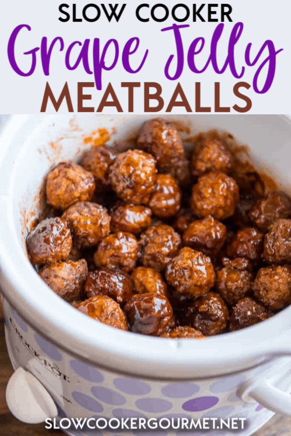 Slow Cooker Grape Jelly Meatballs are a classic holiday treat! Easy to make and perfect for family gatherings, entertaining friends and potlucks! #slowcooker #grapejelly #meatballs