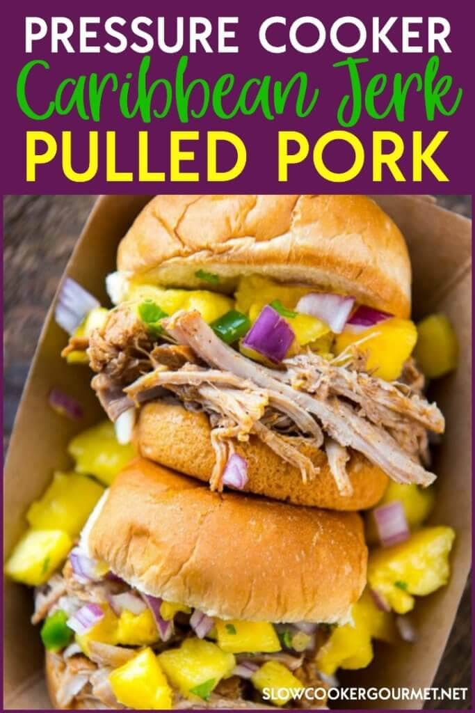 Delicious juicy pulled porkwith a Caribbean Jerk kick! This tasty Pressure Cooker Pulled Pork can be made the slowcooker or the Instant Pot! Pressure Cooker Caribbean Jerk PulledPork is perfect for a quick and easy refreshing meal.
