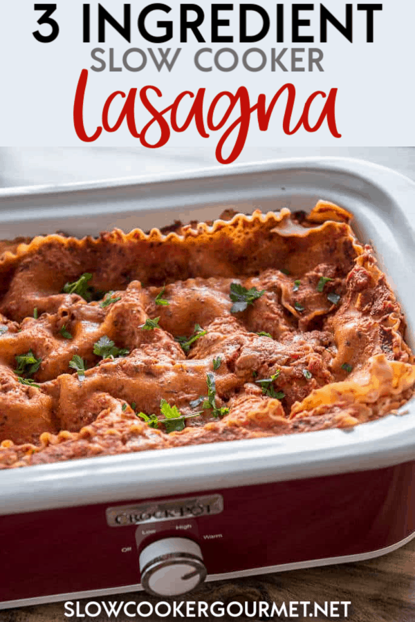 Need a quick fix and no fuss meal in a pinch?  3 Ingredient Slow Cooker Lasagna is about as easy as it gets and it's a meal the whole family will love! Who wouldn't want to come home to a deliciously cheesy lasagna for dinner? #slowcooker #lasagna