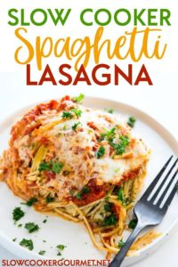 Slow Cooker Spaghetti Lasagna is a super simple way to get your lasagna fix without spending hours of your day in the kitchen! Layers of pasta, sauce, and cheese topped off with yet more cheese, this recipe is absolutely delicious! #pasta #pastarecipe #lasagna #vegetarian #vegetarianrecipe #slowcooker #slowcookerrecipe #slowcookerpasta #italianfood