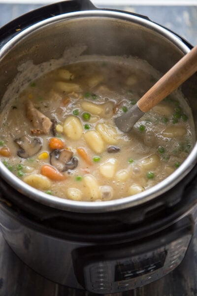 chicken and dumplings in the Instant Pot pressure cooker with ladle