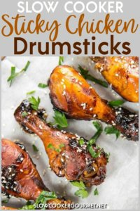 Want a meal that's guaranteed to have your kids finishing their food instead of complaining again about what's for dinner? Try these Slow Cooker Sticky Chicken Drumsticks! They will love them and you will love how quick and easy they are to make! #slowcooker #chickendrumsticks